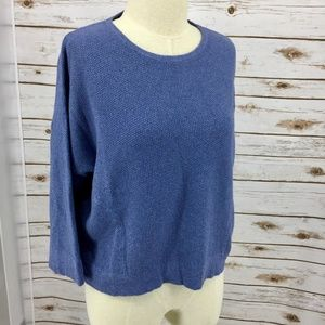 J Jill thermal crop top boxy fit pockets blue